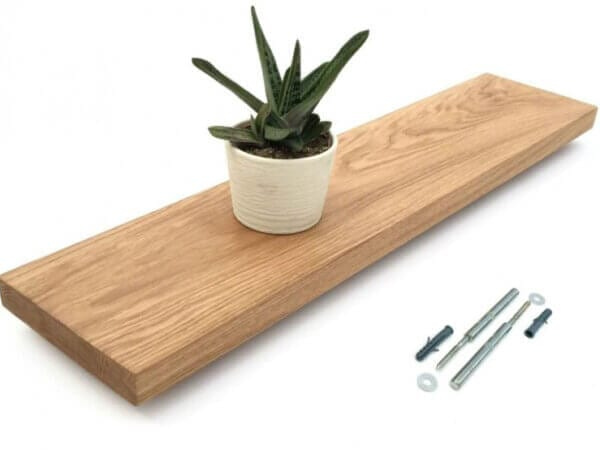 solid oak floating shelves