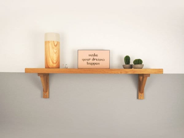 Oak Shelf With Modern Brackets