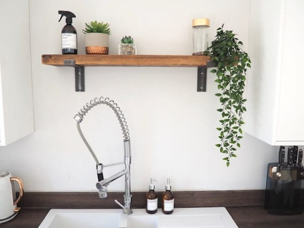 rustic metal bracket shelf