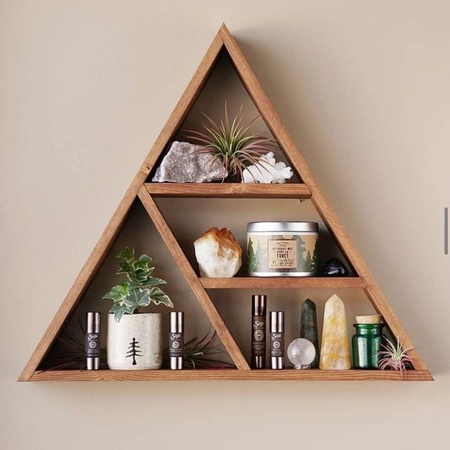 Triangle wooden floating shelf